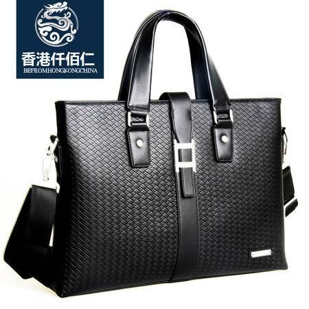 香港仟佰仁 斜挎男包商务牛皮手提包单肩包男公文电脑包男士包包