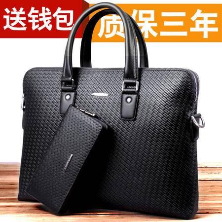 香港仟仁狮    男包手提包真皮包单肩包男公文横款电脑斜挎背包