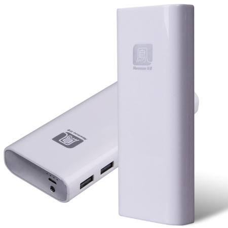 纽曼(Newmine)U100双USB移动电源 10000mAh充电宝 银色、白色