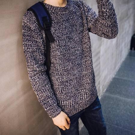 秋装新款港潮彩织花色圆领男士套头毛衣韩版休闲毛衣Q00080
