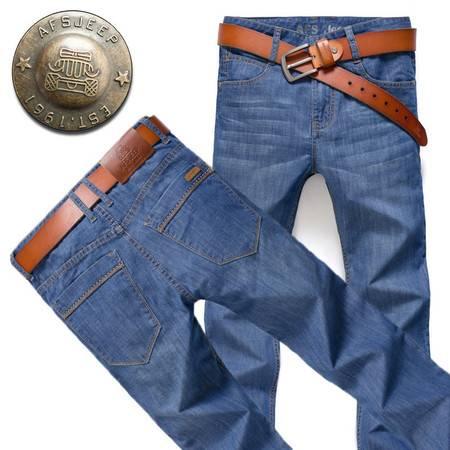 D男装牛仔裤春夏薄款商务直筒牛仔裤长裤8006