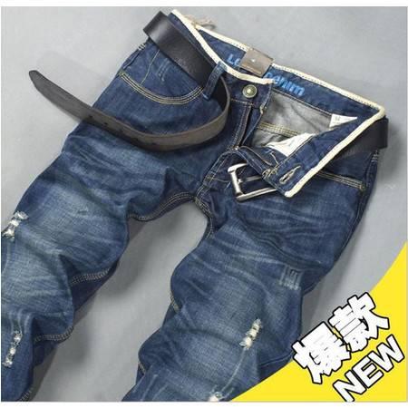 D男式牛仔裤长裤怀旧破洞欧美修身直筒男士牛仔长裤097