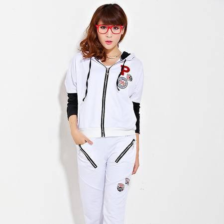 HTK休闲套装女韩版蝙蝠袖连帽长袖长裤运动套装两件套春秋5006