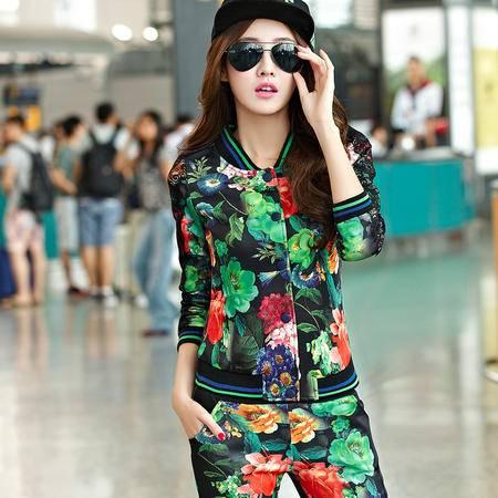 HTK新品春装韩数码印花休闲运动服两件套 时尚修身套装女WT525