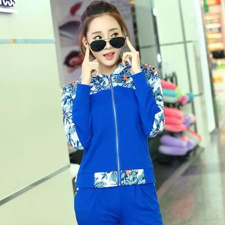 HTK春装印花拼接女套装时尚韩版休闲运动服裤套装女两件套WT515