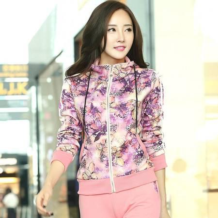 HTK春装新款女套装时尚韩版长袖印花裤套装连帽休闲运动套女WT514