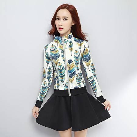 HTK春装新品女装 韩版立领印花长袖伞裙两件套休闲运动套装WT512