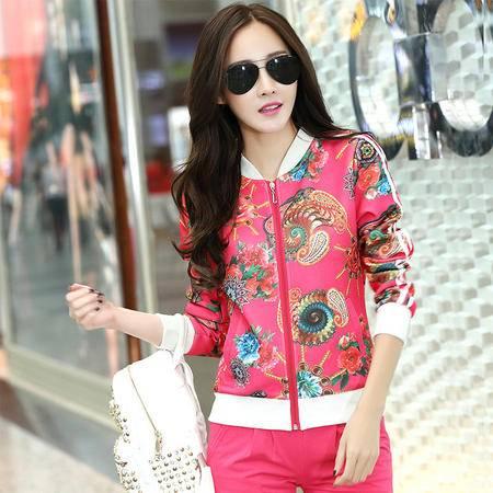 HTK春装新款女装韩国时尚印花长袖女式休闲运动套装女两件套WT513