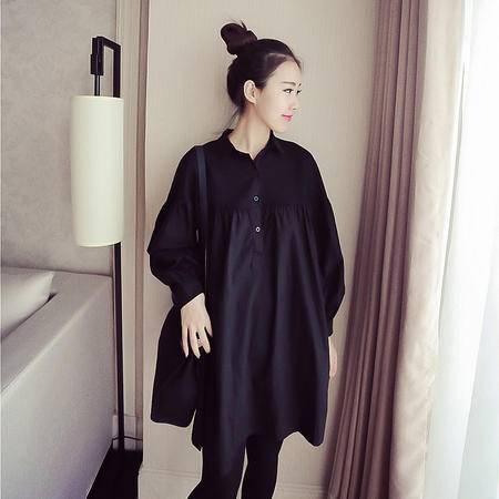 HTK春装孕妇中长款衬衫韩版网格拼接宽松灯笼袖舒适时尚孕妇6967#