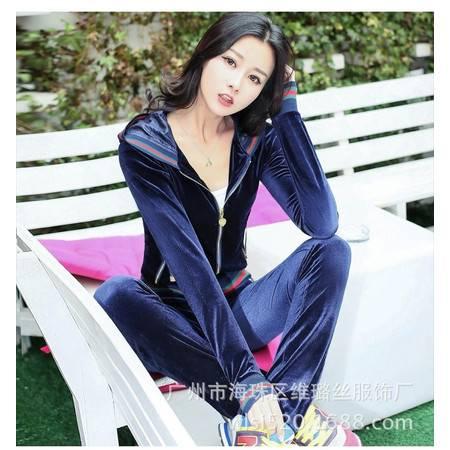 Z新款韩国金丝天鹅绒休闲运动服女春秋套装卫衣外套小香风0224