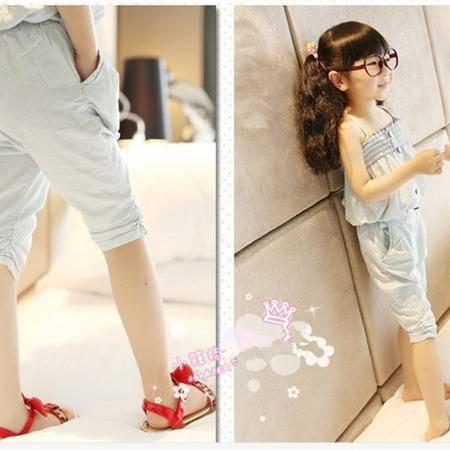 贝贝新款韩版女童装水洗柔软牛仔抹胸吊带上衣加垮裤套装133