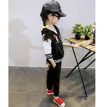 贝贝春季新款韩版休闲拉链外套印花卡通儿童套装H8353