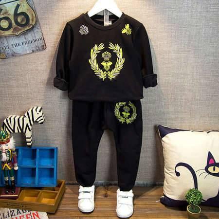 贝贝春装韩版休闲纯棉两件套中小童刺皇冠卫衣裤子套装H0025