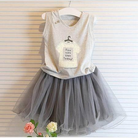 贝贝2016韩国女童超时尚夏季新品儿童纯棉个性纱裙套装H3382