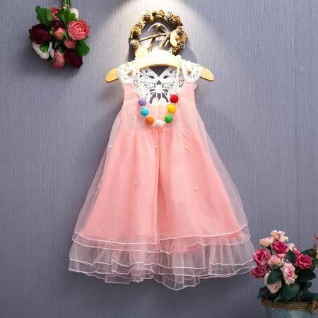 贝贝珍珠露背网纱连衣裙韩版2016夏装公主背心裙蓬蓬裙H3972