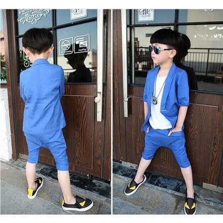 贝贝男童西装套装童装夏款韩版潮麻料宝宝儿童西服套装H8895