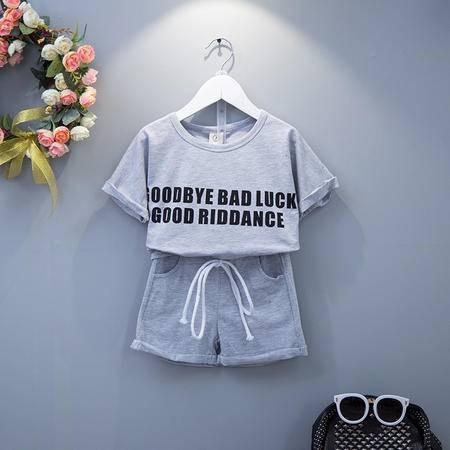 贝贝2016女童奥戴尔棉短裤T恤两件套装H5022