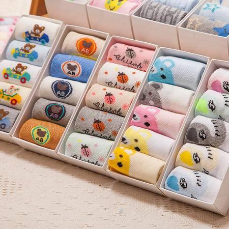 豆仔儿童袜子16夏季薄棉网眼款卡通儿童袜 一盒五双装儿童袜子