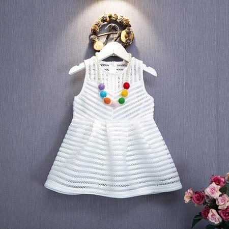 贝贝2016新款女童夏装气质激光镂空无袖儿童连衣裙公主裙H5260