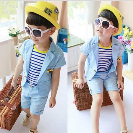 贝贝夏装儿童套装 韩版纯棉中大男童套装 两件套H8896