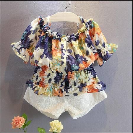 贝贝韩国童装新款女童田园碎花露肩上衣儿童洋气性感衬衫H3732