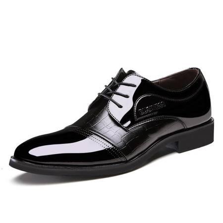 俊斯特秋款奢华工艺鳄鱼纹男士尖头商务正装皮鞋男鞋单鞋
