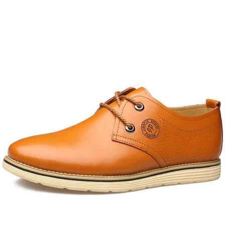 俊斯特春夏新款时尚英伦风圆头休闲鞋男单鞋系带皮鞋