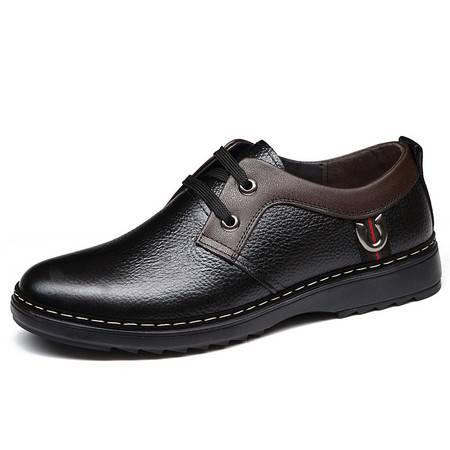 俊斯特秋款男士头层牛皮圆头系带休闲皮鞋透气单鞋男鞋子