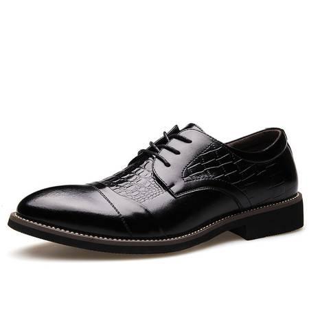 俊斯特春季新款男士鳄鱼纹尖头商务皮鞋单鞋舒适时尚男鞋