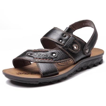 俊斯特夏季新款男士休闲凉鞋真皮沙滩鞋男凉拖鞋男鞋
