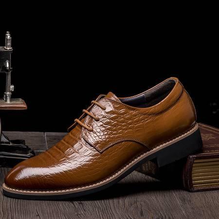 俊斯特新款商务皮鞋男士尖头系带正装皮鞋真皮男鞋子