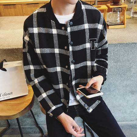 G2016秋新款男士格子棒球衣男装宽松呢夹克外套潮