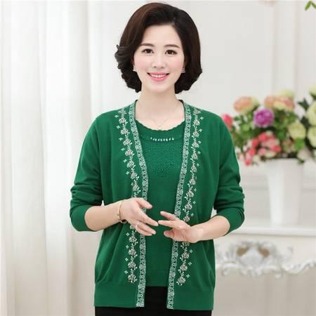 R秋季新品中老年女士毛衣针织长袖妈妈装真两件套开衫针织外套