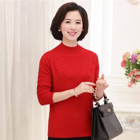 R秋季新款中老年女装秋装圆领提花针织衫修身打底衫羊毛混纺毛衣