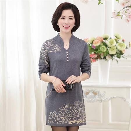 R秋季新款中老年女装长袖v领针织衫时尚百搭打底衫中长款女式毛衣