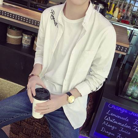 G2016秋新款时尚休母刺绣棉麻修身潮男长袖衬衫男特