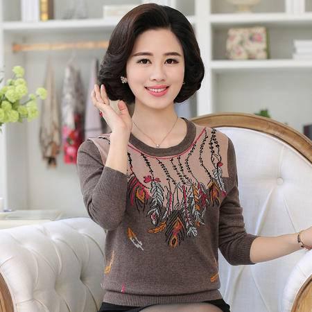 R中老年女装秋新款长袖毛衣针织衫时尚妈妈装宽松羊毛打底衫上衣