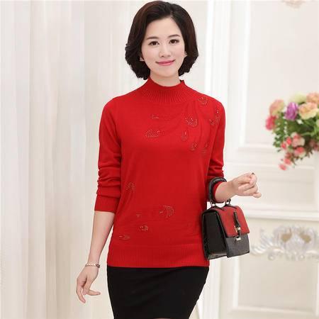 R秋冬新款中年女士针织衫韩版修身长袖妈妈装中老年套头打底上衣