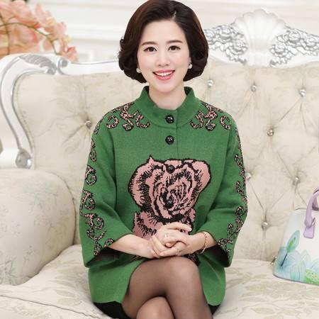 R秋冬中老年女式毛衣 韩版立领七分袖厚针织开衫妈妈装