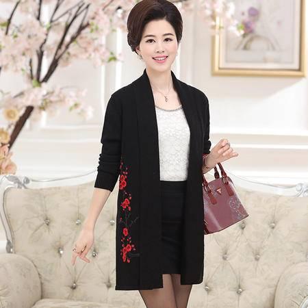 R秋冬中老年人女装中长款开衫外套中年妈妈装绣花针织衫薄