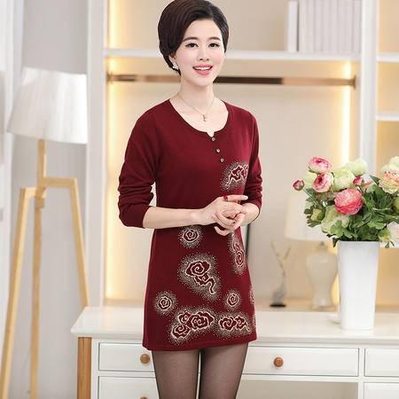 R中老年女装秋装韩版圆领中长款针织打底衫中年妇女潮流妈妈装