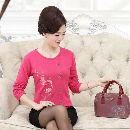 R新品秋冬针织中老年妈妈装 韩版印花修身时尚气质舒适妈妈装