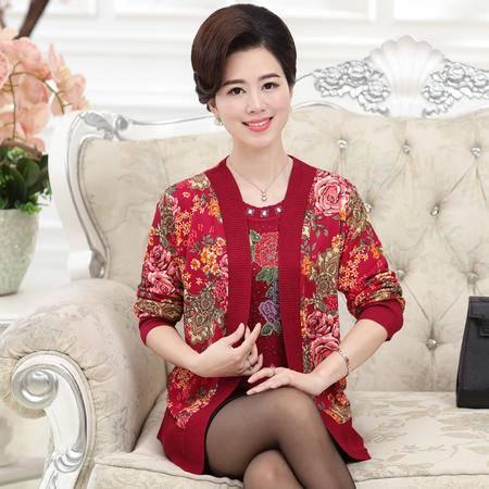 R秋季中老年妈妈装长袖开衫上衣大码中年女装假两件针织衫毛衣