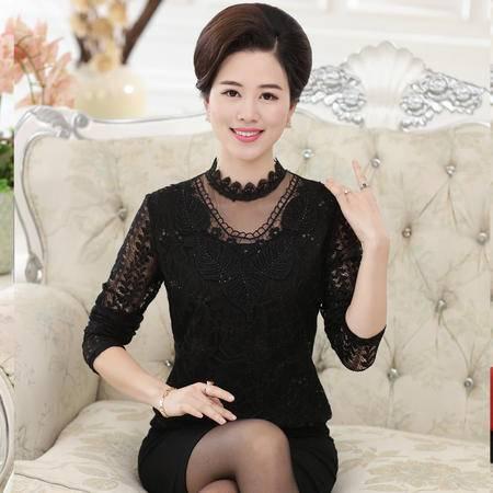 R中老年女装秋季长袖蕾丝T恤中年妈妈装40-50大码打底衫上衣女