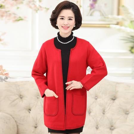 R中老年女装秋季长袖外套妈妈装开衫针织大码宽松纯色毛衣上衣