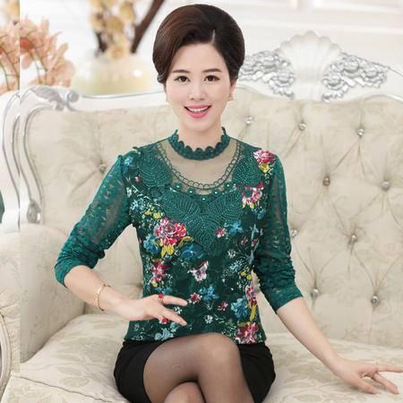 R秋季新款中老年女装蕾丝长袖T恤时尚大码妈妈装中年女士打底衫爆