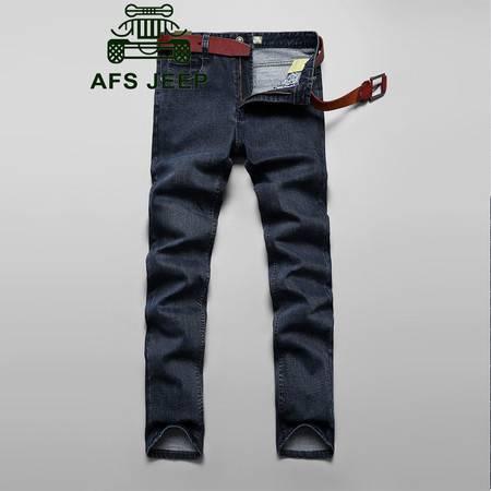 Z758#战地吉普AFS JEEP加大码韩版男士休闲商务直筒牛仔长裤