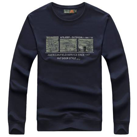 Z15601#战地吉普秋冬套头修身运动休闲男士T恤长袖卫衣印花纯棉