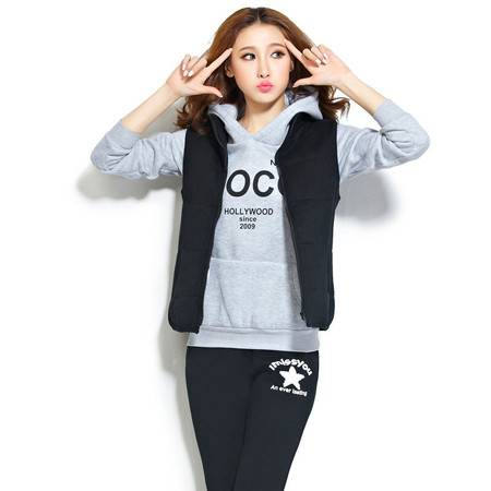 Z2016新款运动休闲套装韩版卫衣三件套加厚加绒秋冬学生装
