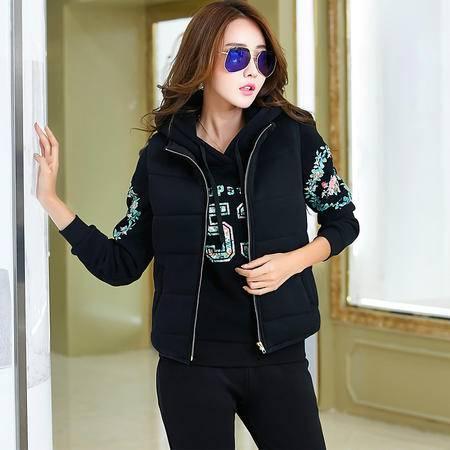 Z2016秋冬卫衣女三件套加厚加绒时尚运动服休闲套装外套头衫